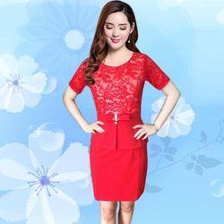 Sale Đồng Gía 139k Đầm Ren Dự Tiệc Peplum Đỏ có size XXL - TP1238 giá sỉ