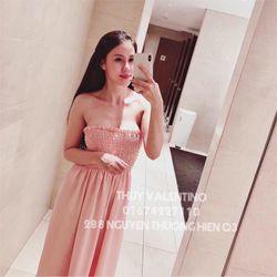 Đầm maxi hồng nhúng ngực cực xinh giá sỉ