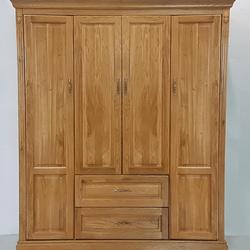 Tủ áo gỗ sồi Pano 4 cánh 2 hộc kéo R180xS60xC210cm giá sỉ
