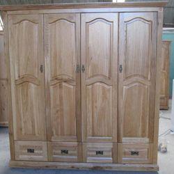 Tủ áo gỗ sồi Pano 4 cánh 4 hộc kéo R180xS60xC210cm giá sỉ