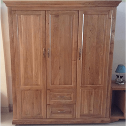 Tủ áo gỗ sồi Pano 3 cánh 2 hộc kéo R160xS60xC210cm giá sỉ