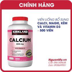 Viên uống Canxi Kirkland Calcium 600mg D3 hộp 500 viên của Mỹ