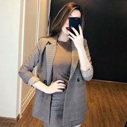 Set áo vest kẻ kèm áo thun chân váy giá sỉ