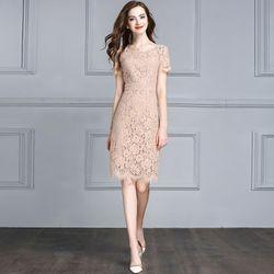 Đầm Ren Mi Tay Ngắn Màu Da giá sỉ