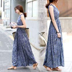 Đầm maxi hoa văn xanh tao nhã dạo biển tuyệt vời-101 - 92101 giá sỉ
