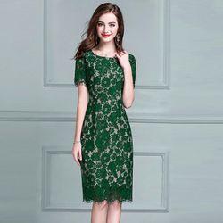 Đầm Ren Mi Tay Ngắn Màu Xanh giá sỉ