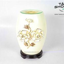 Đèn xông tinh dầu Gốm Hoa nổi TNS1 không eo giá sỉ