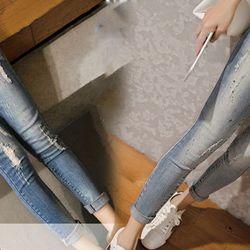 Quần jean thời trang rách nhẹ phối với màu sơn 181 - 91181 giá sỉ