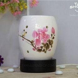 Đèn xông tinh dầu gốm trắng hoa lan giá sỉ