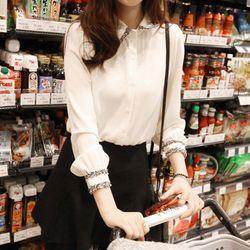 Áo kiểu nữ thiết kế độc đáo điểm nhấn ở tay và cổ 141 - 90141 giá sỉ