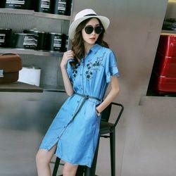 Đầm Jean Sơ Mi Thêu Hoa giá sỉ