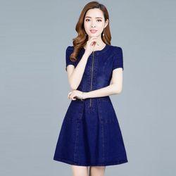 Đầm jean xuông phối túi dây kéo trước giá sỉ