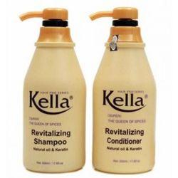 Combo dầu gội dầu xả Kella phục hồi tóc hư hại 500ml/chai