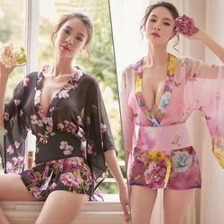 Áo ngủ voan lưới hoa kiểu Kimono - ms 19151 giá sỉ