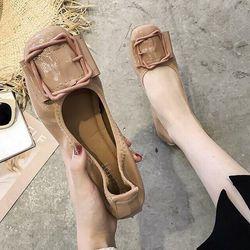 Giày búp bê đế da mềm khóa vuông giá sỉ