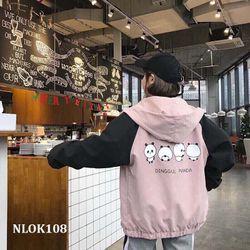 Áo khoác dù in gấu