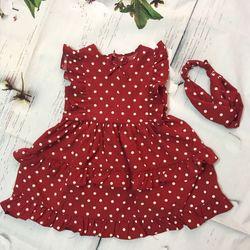 Đầm bé lụa chấm bi đỏ đô giá sỉ