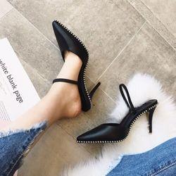 Giày cao gót hở gót viền bi - MSCG112