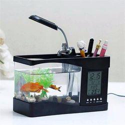 Bể cá mini để bàn kiêm đồng hồ Hộp bút hộp để ĐT giá sỉ