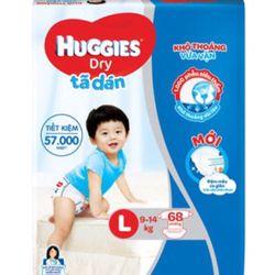 Tã dán Huggies size L68 đệm mây co giãn giá sỉ