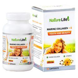 Viên uống bổ sung Collagen và vitamin E cho làn da trẻ đẹp Nature Life Marine Collagen and E của Pháp hộp 60 viên giá sỉ