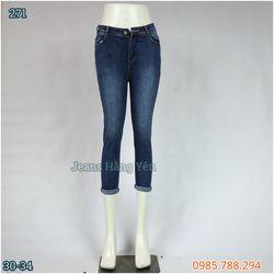 Quần Jean Nữ 9 Tấc Lưng Cao Kiểu Trơn Lật Lai Wax Size 30-34 Ms 271 giá sỉ