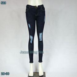 Sỉ Quần Jean Nữ Dài Lưng Cao Rách Bụi Cotton Giặt Size 26-30 JHY-523 giá sỉ