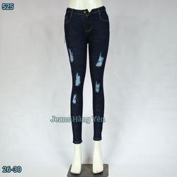Sỉ Quần Jean Nữ Dài Lưng Cao Rách Bụi Cotton Giặt Size 26-30 JHY-525 giá sỉ