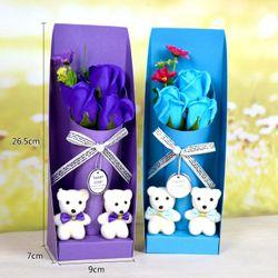 Hộp quà tặng chậu 3 bông kèm 2 gấu giá sỉ