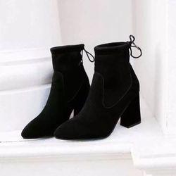 giày bot nữ gót vuông cột nơ giá sỉ