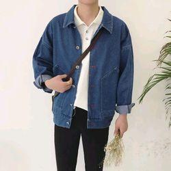 áo khoác jeans bò thời trang UniSex Nam nữ xanh thêu giá sỉ