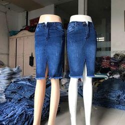 chân váy jeans dài xẻ trước giá sỉ
