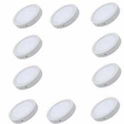 Combo 10 đèn LED downlight ánh sáng vàng ốp trần nổi tròn công suất 24W bóng tròn cho ban công - Vàng