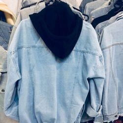 áo khoác jeans bò thời trang UniSex Nam nữ xanh nón đen giá sỉ