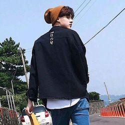 áo khoác jeans bò thời trang UniSex Nam nữ thêu chữ nhật giá sỉ