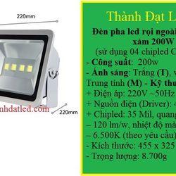 đèn pha led 200w ghi đủ công suất