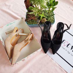 sp1558-1559 giày cao gót da lộn gót trụ hoa hở gót giá sỉ