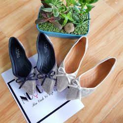 SP760-761 giày búp bê full đá mũi nhọn đính nơ hình sàn tu chụp giá sỉ