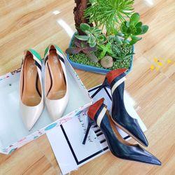 sp738-739 giày cao gót phối 3 màu gót giá sỉ