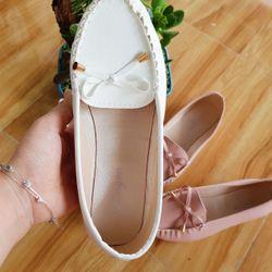 SP1597-1598 giày mọi mũi chắp nổi nơ sợi nhí giá sỉ