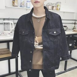 khoác jeans trơn đen giá sỉ