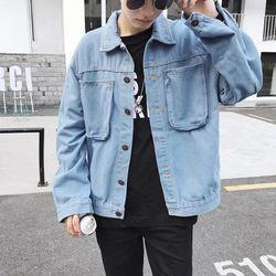khoác jeans trơn xanh giá sỉ