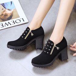giày bot cổ thấp gót vuông giá sỉ