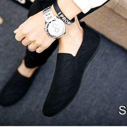 Giày lười phong cách hàn quốc màu đen