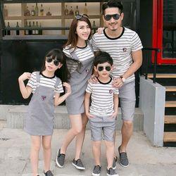 Áo yếm gia đình sọc trắng đen HT018 giá sỉ