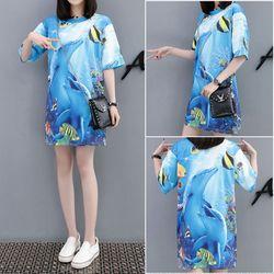 áo thun from rộng 3D cá heo giá sỉ