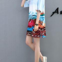 áo thun from rộng 3D biển nước giá sỉ