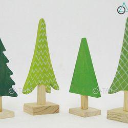 Combo 4 Cây thông Noel để bàn bằng gỗ nhỏ xinh XMAS-03