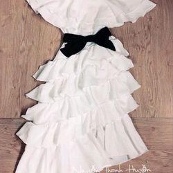 Đầm maxi bẹt vai tầng giá sỉ