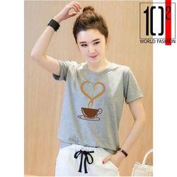 Áo thun nữ in hình cà phê tim form rộng hàn quốc vải dày mịn - ATN02 giá sỉ
